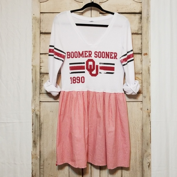 MoonShine Hippie Tops - Upcycled OU Sooners Dress Tunic Game Day Med